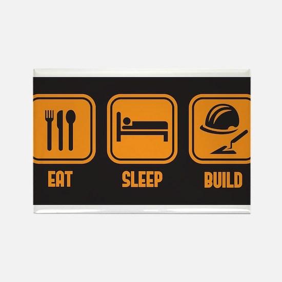 Eat Sleep build in orange with black background Re