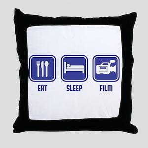 Eat Sleep Film design in blue Throw Pillow