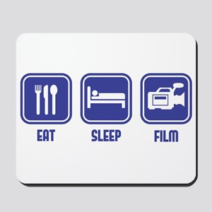 Eat Sleep Film design in blue Mousepad