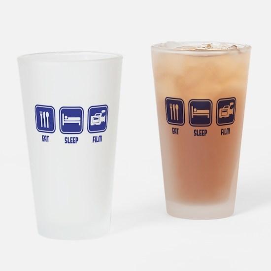 Eat Sleep Film design in blue Drinking Glass