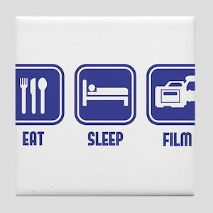 Eat Sleep Film design in blue Tile Coaster