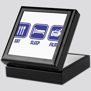 Eat Sleep Film design in blue Keepsake Box