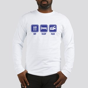 Eat Sleep Film design in blue Long Sleeve T-Shirt