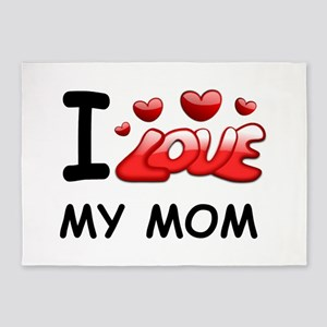 mothers day i love my mom 5'x7'Area Rug