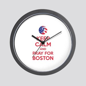Keep calm and pray for Boston Wall Clock
