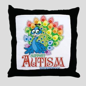 Autism Peacock Throw Pillow