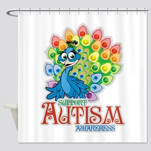 Autism Peacock Shower Curtain