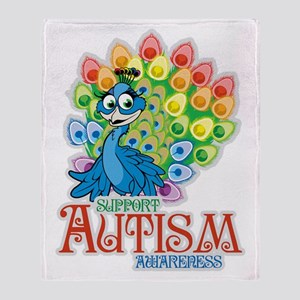 Autism Peacock Throw Blanket