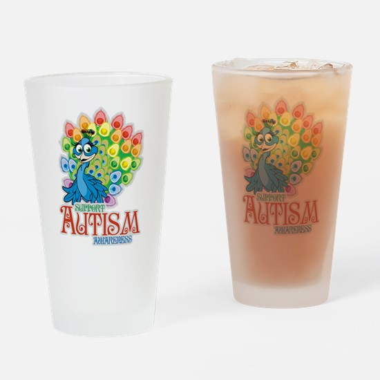 Autism Peacock Drinking Glass