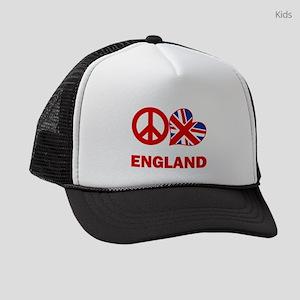 Peace Love England Kids Trucker hat