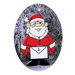 Masonic Santa in the Snow Oval Ornament