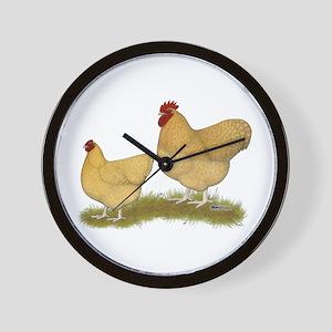 Orpington Lemon Cuckoo Chickens Wall Clock