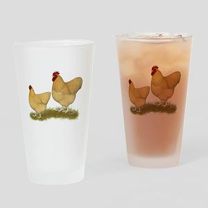 Orpington Lemon Cuckoo Chickens Drinking Glass