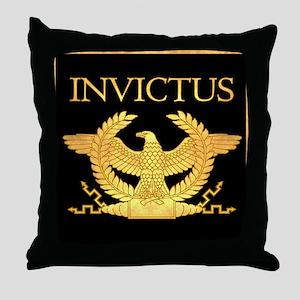 Invictus Gold Eagle on Black Throw Pillow