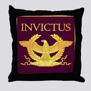 Invictus Gold Eagle on Purple Throw Pillow