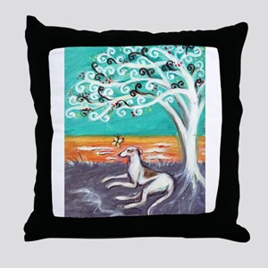 Greyhound spiritual tree Throw Pillow