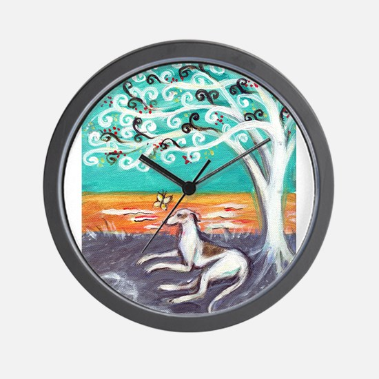 Greyhound spiritual tree Wall Clock