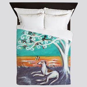 Greyhound spiritual tree Queen Duvet