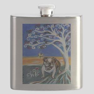 English Bulldog Spiritual tree Flask