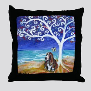 Basset Hound Spiritual Tree Throw Pillow