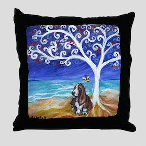 Basset Hound Spiritual Tree Throw Pillow