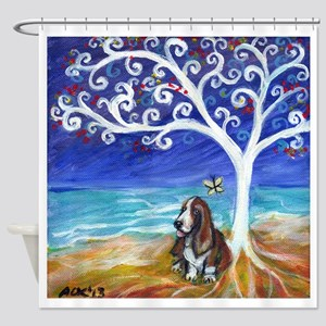 Basset Hound Spiritual Tree Shower Curtain