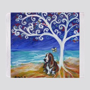 Basset Hound Spiritual Tree Throw Blanket