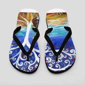 Basset Hound Spiritual Tree Flip Flops