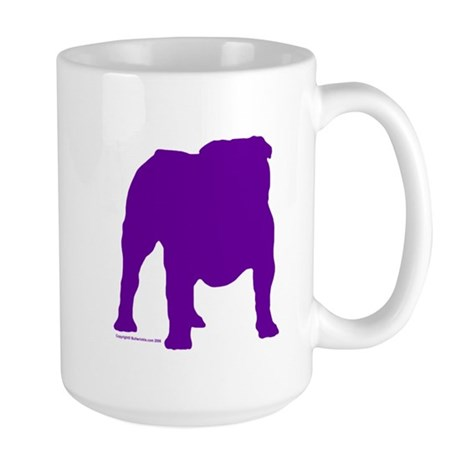 Purple Bulldog Silhoutte Large Mug