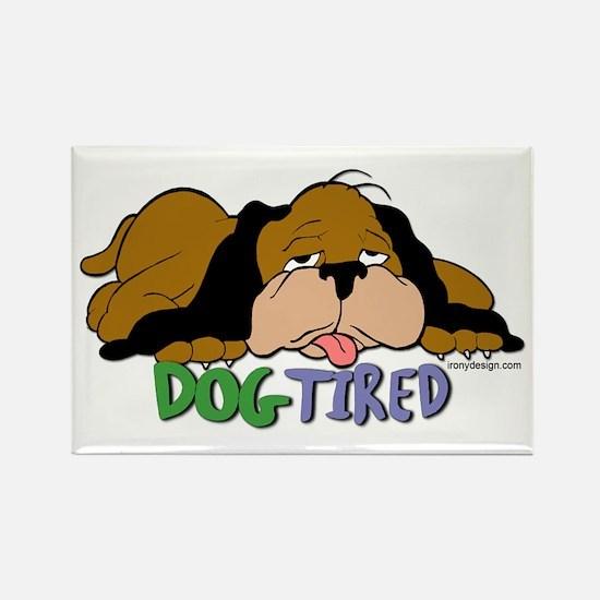 Dog Tired Rectangle Magnet