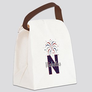 4th of July Fireworks letter N Canvas Lunch Bag