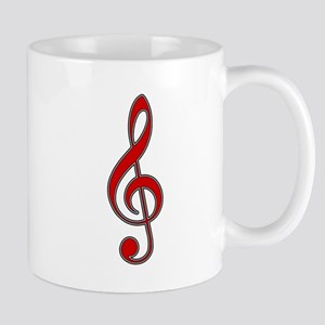 Old-Timey Red Treble Clef Mug