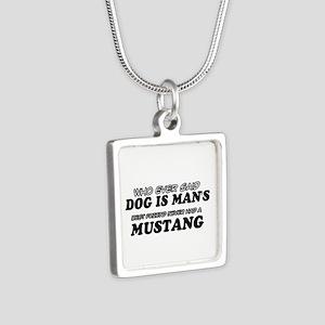 Miniature Mule pet designs Silver Square Necklace