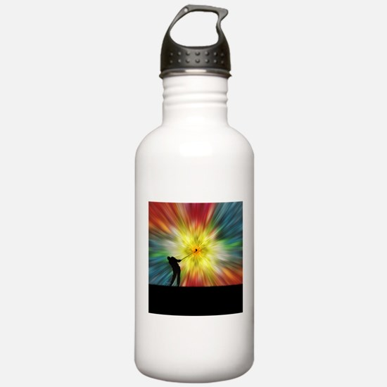 Tie Dye Silhouette Golfer Water Bottle