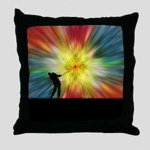 Tie Dye Silhouette Golfer Throw Pillow