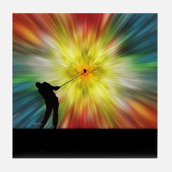 Tie Dye Silhouette Golfer Tile Coaster