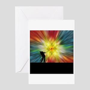 Tie Dye Silhouette Golfer Greeting Card