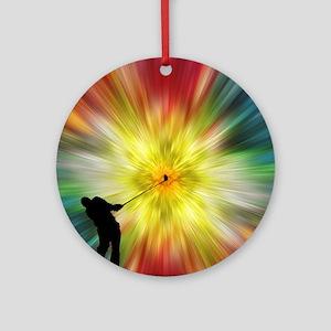 Tie Dye Silhouette Golfer Ornament (Round)