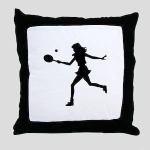 Girls Tennis Silhouette Throw Pillow