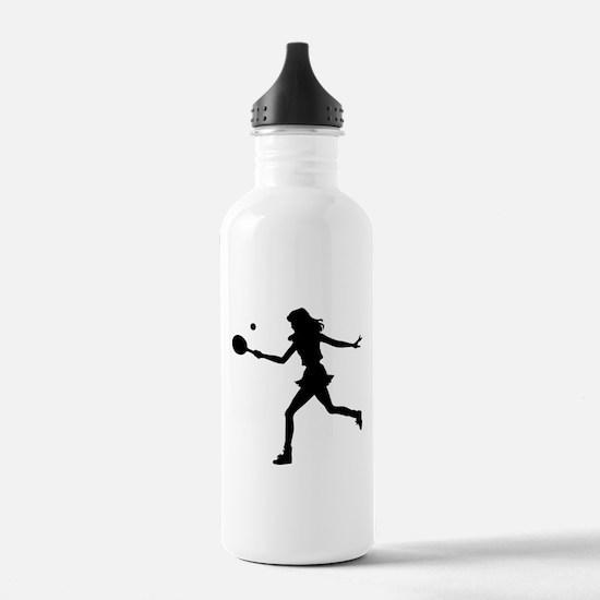Girls Tennis Silhouette Sports Water Bottle