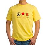 Peace Love Cats Yellow T-Shirt