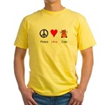 Peace Love Cats Yellow T-Shirt