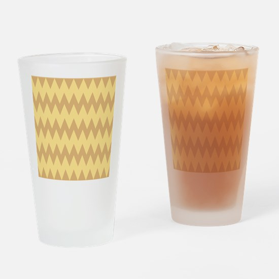 Tan and Light Brown Zigzags. Drinking Glass