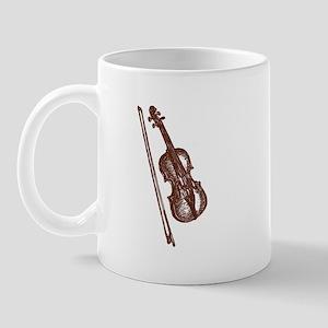 Woodcut Brown Violin/Fiddle Mug