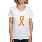 Orange Awareness Ribbon Women's V-Neck T-Shirt