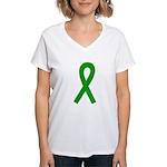 Green Awareness Ribbon Women's V-Neck T-Shirt