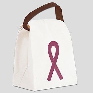Burgundy Awareness Ribbon Canvas Lunch Bag