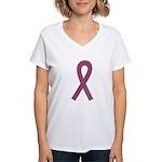 Burgundy Awareness Ribbon Women's V-Neck T-Shirt