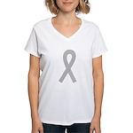 Gray Awareness Ribbon Women's V-Neck T-Shirt