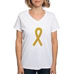 Gold Awareness Ribbon Women's V-Neck T-Shirt